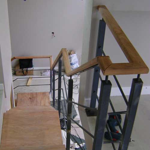 Escaleras de acero inoxidable barandas de hierro y madera - Escalera hierro y madera ...