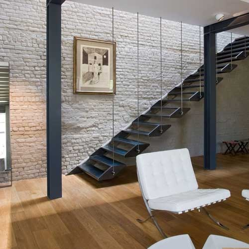 Escaleras a medida acero y vidrio zona oeste zona norte for Escalera recta de hierro y madera